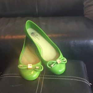 Kate Spade green jelly flats